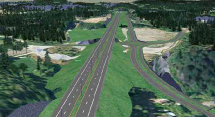AREALKREVENDE: Bygging av firefelts motorvei krever mye areal – dermed må mye skog vike. Slik illustrerer Nye Veier en parsell av veien som skal bygges mellom Arendal og Grimstad.